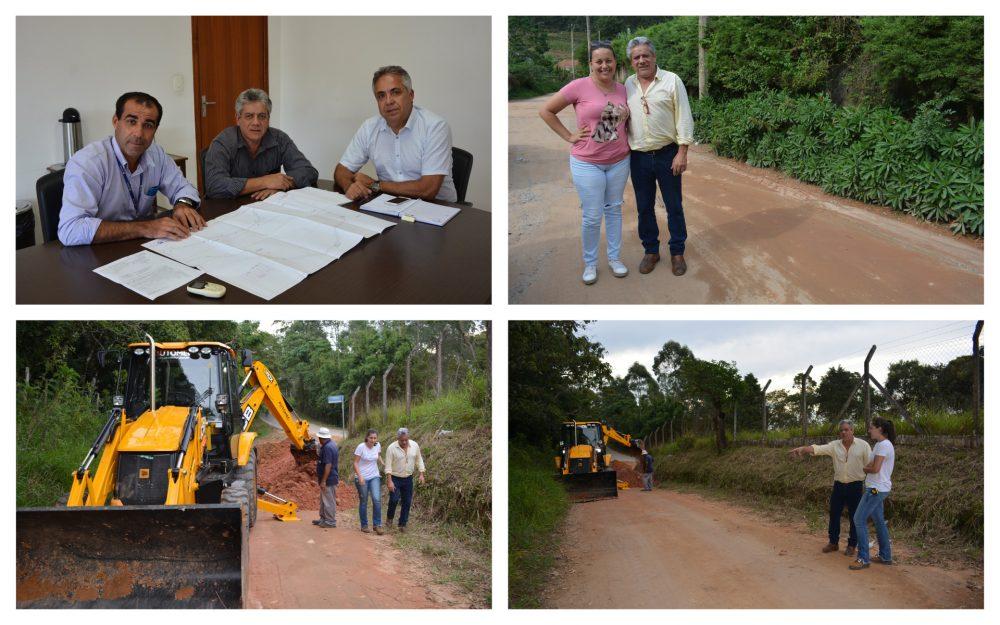 Vereador José Luiz acompanha começo dos trabalhos de extensão da rede de água na Estrada da Dona Nega
