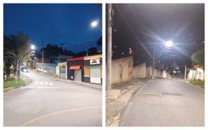 Vereador Thiago Nunes confere colocação de lâmpadas de LED em São João Novo