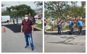"""Operação """"tapa-buracos"""" e serviços de zeladoria chegam ao Distrito de São João Novo após reivindicações do Vereador Thiago Nunes"""